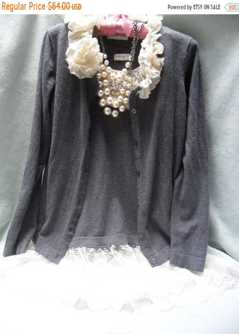 Gray /& Ivory Love the 20s Sale 2 PC Sweater Set Reworked Gently Worn Embellished Whimsical Romantic Boho