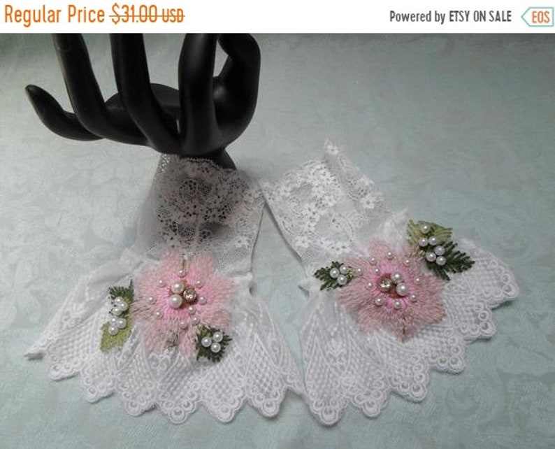 New Year New Deal 25/% OFF CUFF White lace Adornments Wrist Cuff ONE of a Kind