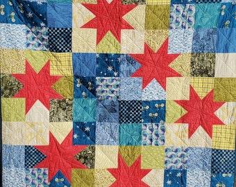 "Throw quilt, pink/blue/green, 58"" x 58"" Wonky Stars"
