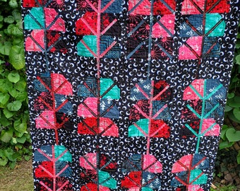 """Lap Quilt, teal/black/pink, 45.5"""" x 37.5"""", Night Forest"""