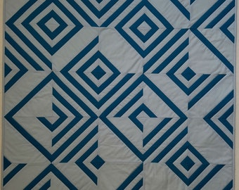 """Illusion 34"""" x 34"""" blue and gray wall hanging, Quiltsy Handmade"""