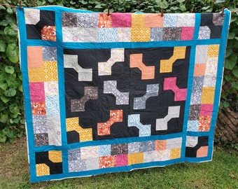 """Lap/Throw quilt, teal/gray/gold, 59"""" x 69"""", Scrappy Bowties"""