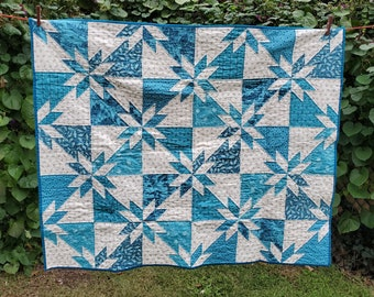 """Lap Quilt, blue/white, 48.5"""" x 40.5"""",  Sea and Sky"""