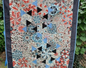 """Throw quilt, red/blue/white, 51"""" x 40.5"""", Vintage Comic Ads"""