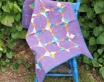 "Mini Kites 39"" x 32.5"" scrappy purple baby/crib quilt, Quiltsy Handmade"