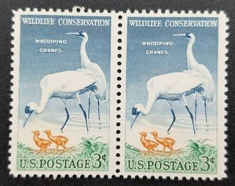 Ten (10) vintage unused postage stamps - Wild Cranes // 3 cent stamps // face value 0.30