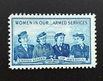 Ten (10) vintage unused postage stamps - Women in the armed forces // 3 cent stamps // face value 0.30