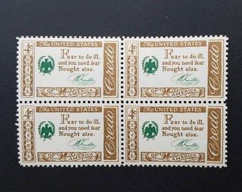 Twelve (12) vintage unused postage stamps,- American credo, Benjamin Franklin quote, 4 cent stamps