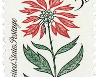 Five (5) vintage Christmas postage stamps - Christmas plants - Poinsettia // 5 cent stamps // Face value 0.25