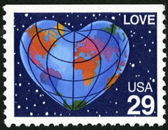 Ten 10 Vintage Unused Postage Stamps Love Heart World 29 Cent Stamps Face Value 2 90