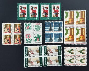 Four (4) 1-oz letters' worth of vintage Christmas postage stamps // face value 1.96