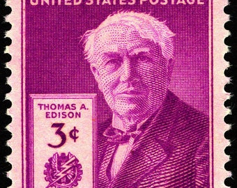 Five (5) vintage unused postage stamps - Thomas Edison // 3 cents stamps // Face value 0.15