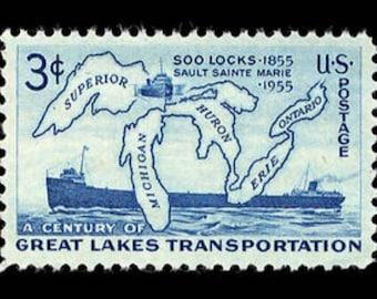 Ten (10) vintage postage stamps - Soo locks, Great Lakes // 3 cent stamps