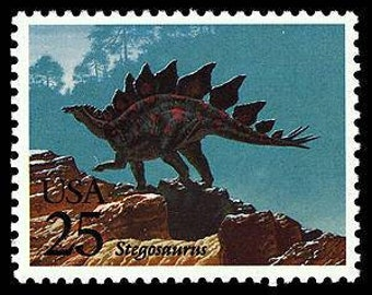Five (5) vintage postage stamps - Dinosaurs - Stegosaurus // 25 cent stamps // Face value 1.25 dollars