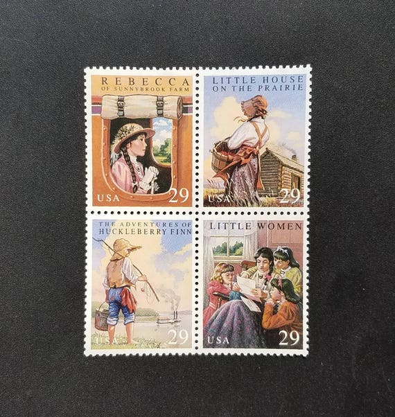 Four (4) unused postage stamps - Classic children's books, Youth classics // 29 cent stamps // Face value 1.16