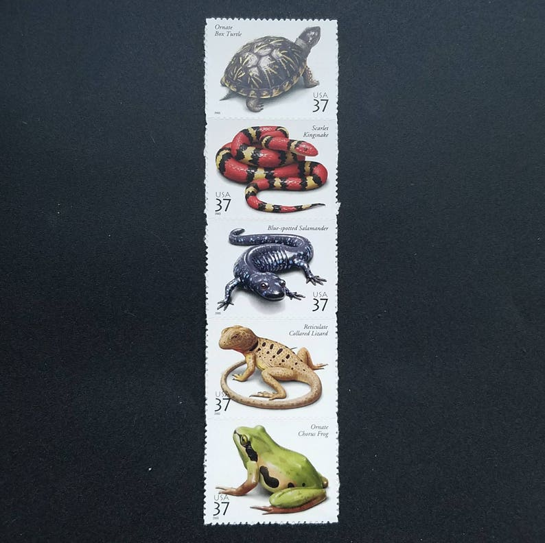 Five (5) unused US postage stamps - Amphibians and Reptiles // 37 cent  stamps // face value 1 85