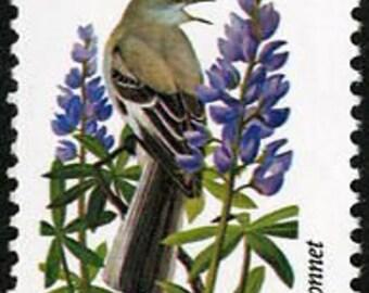 Five (5) vintage unused postage stamps - Texas state bird & flower - Mockingbird, bluebonnet // 20 cent stamps // Face value 1.00