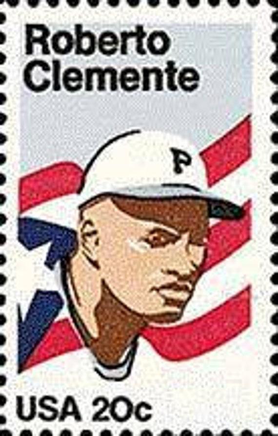 Five 5 Vintage Unused Postage Stamps Roberto Clemente