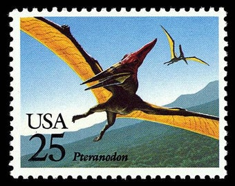Five (5) vintage postage stamps - Dinosaurs - Pteranodon // 25 cent stamps // Face value 1.25 dollars