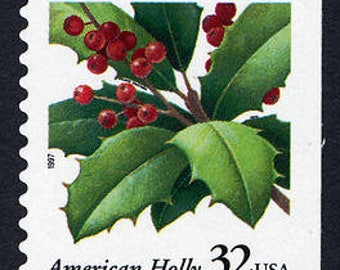 Five (5) vintage Christmas postage stamps - Holly // 32 cent stamps // Face value 1.60