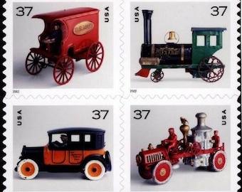 Four (4) unused vintage stamps - Antique toys // 37 cent stamps // Face value 1.48