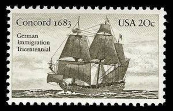 Ten 10 Vintage Unused Postage Stamps Concord 1683 German Immigration
