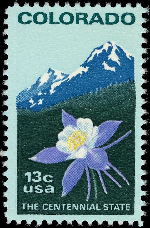 Ten 10 Vintage Unused Postage Stamps Colorado Columbine