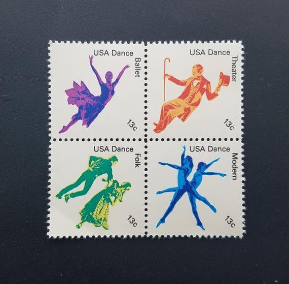 Eight 8 Vintage Unused Postage Stamps American Dance 13