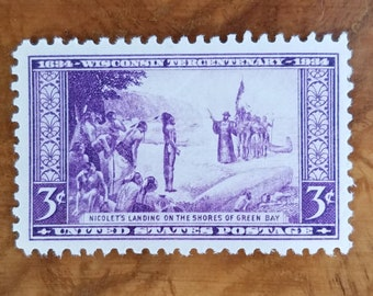 Five (5) vintage unused 1930s postage stamps - Wisconsin tercentennary // 3 cent stamps // Face value 0.15
