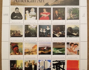 Twenty (20) unused postage stamps - Four Centuries of American Art // 32 cent stamps // Face value 6.40