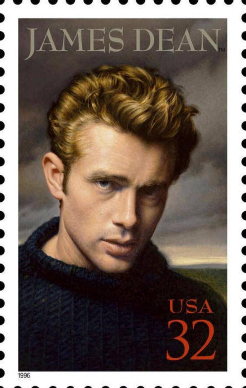 Five (5) vintage unused postage stamps - James Dean // 32 cent stamps //  Face value 1 60