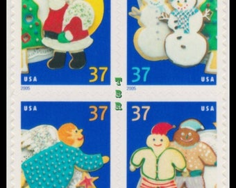Four (4) vintage Christmas postage stamps - Christmas cookies // 37 cent stamps // face value 1.48