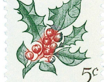 Five (5) vintage Christmas postage stamps - Christmas plants - Holly // 5 cent stamps // Face value 0.25