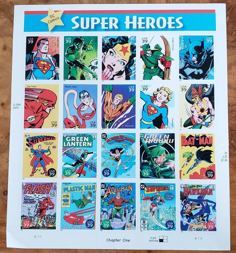 20 unused postage stamps - Super Heroes, DC comics, Chapter 1 (sheet) // 39  cent stamps // Face value 7 80