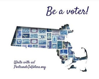 Postcards to Voters printable template: Blue Massachusetts