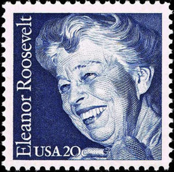 Five 5 Unused Postage Stamps Eleanor Roosevelt 20 Cent Stamp Face Value 1 00