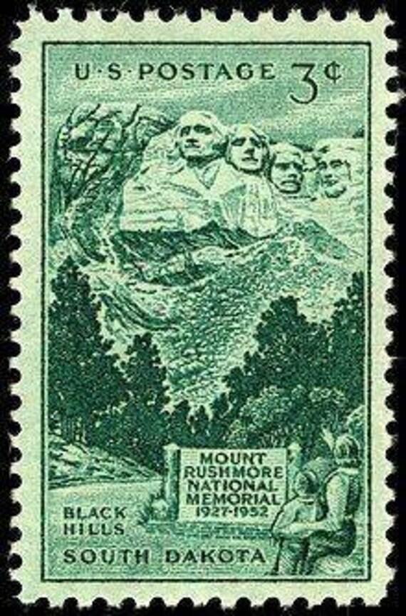 Ten (10) vintage unused postage stamps - South Dakota // 3 cent stamps //  Face value 0 30