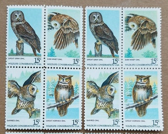 Eight (8) vintage unused postage stamps - Owl stamps, wildlife conservation // 15 cent stamps // Face value 1.20
