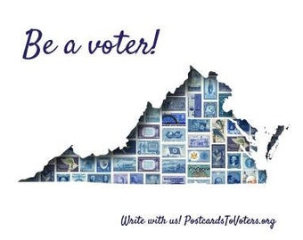 Postcards to Voters printable template: Blue Virginia