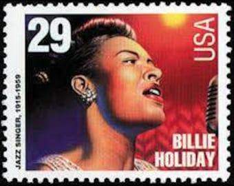 Five (5) vintage unused postage stamps - Billie Holiday // 29 cent stamps // Face value 1.45