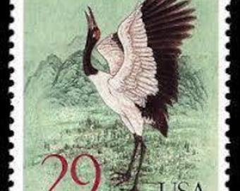 Five (5) vintage unused postage stamps - Black-necked Crane // 29 cent stamps // Face value 1.45