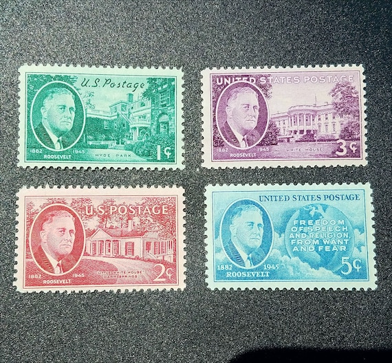 Four 4 Unused Fdr Postage Stamps Franklin D Roosevelt 1 Cent 2 Cent 3 Cent 5 Cent 1 Set Of 4