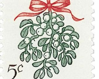Five (5) vintage Christmas postage stamps - Christmas plants - Mistletoe // 5 cent stamps // Face value 0.25