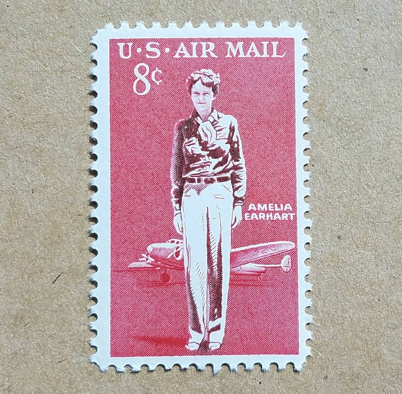 Five (5) vintage unused postage stamps - Amelia Earhart // 8 cent stamps //  Face value 0 40