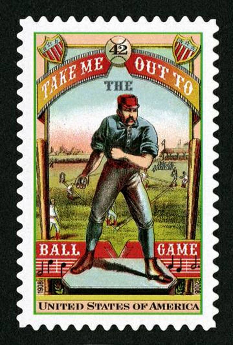 Five 5 Unused Postage Stamps Baseball Take Me Out To The Ball Game 42 Cent Stamps Face Value 2 10