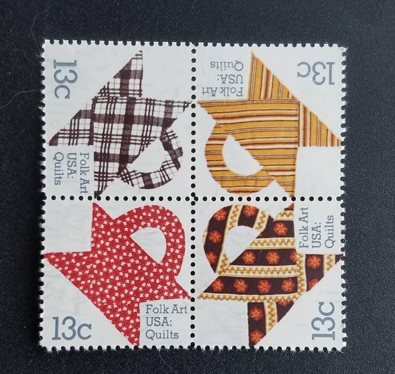Eight 8 Vintage Unused Postage Stamps Folk Art Quilting