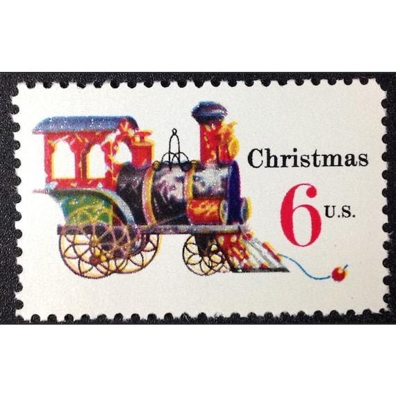 Five 5 Vintage Unused Christmas Postage Stamps Toy Train