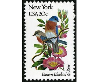 Five (5) vintage unused postage stamps - New York state bird and flower // 20 cent stamps // Face value 1.00
