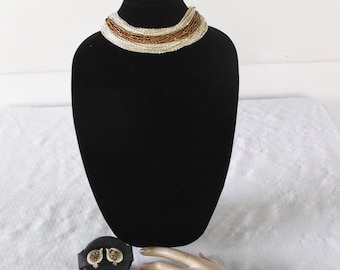 1950s Vintage Necklace Bracelet and Clip On Earrings Parure Gold Beads with Silver Chains