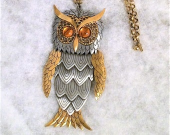 1970s Vintage Large Segmented Owl Necklace with Amber Eyes